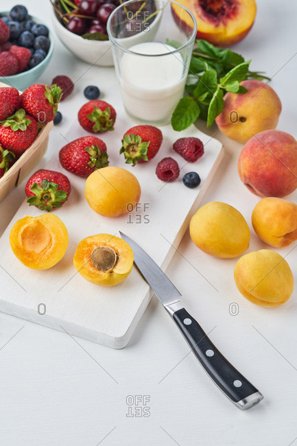 Variety of summer berries and fruits