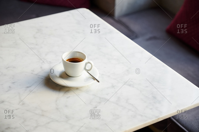 Espresso on marble table