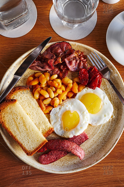 Overhead view of a full English breakfast