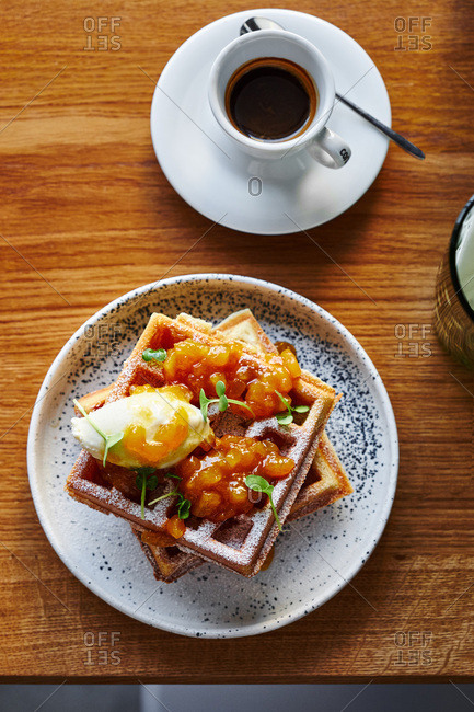 Waffles with apricot jam and sorbet
