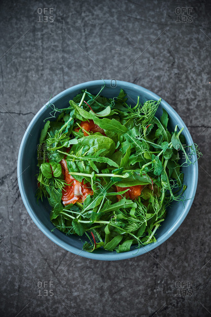 Salad of various greens and trout