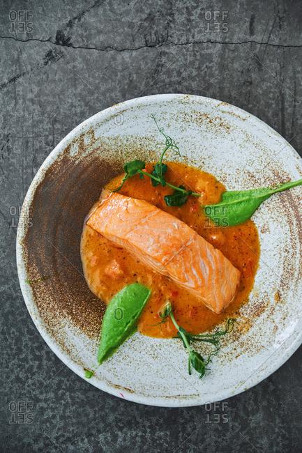 Gourmet salmon dish
