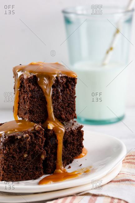 Brownies with caramel close-up