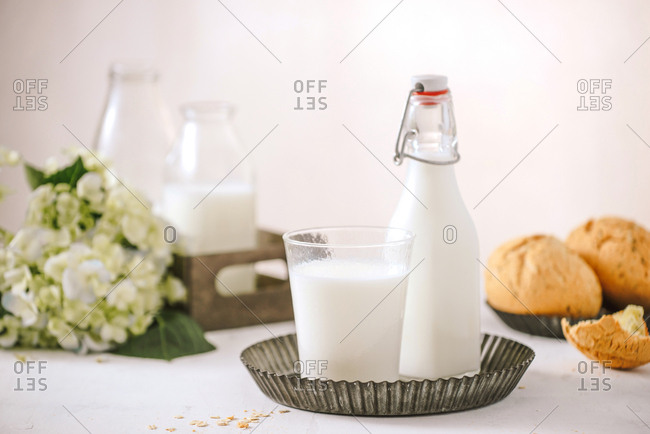 Prepare breakfast with eggs, milk, bread on a wooden table. Milk and egg necessary for growth, health, and good condition. Copy space for your text