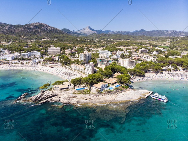 Balearic Islands, Spain - July 24, 2018: Mallorca- Region Calvia- Costa de la Calma- Peguera- Aerial view of beach with hotels