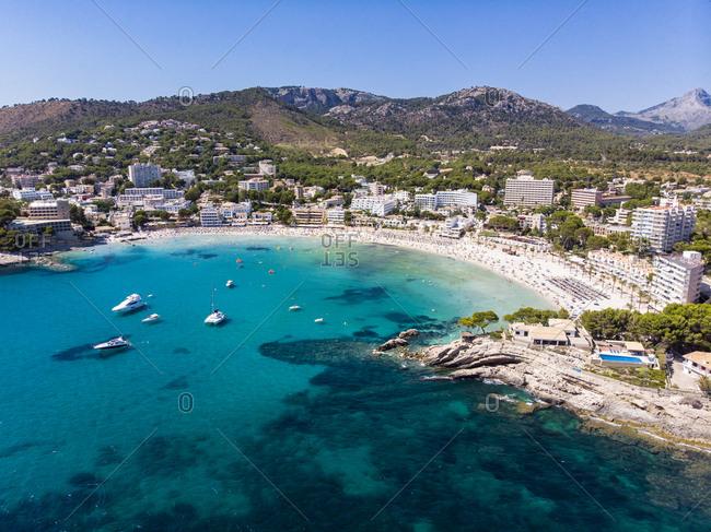 Spain- Balearic Islands- Mallorca- Region Calvia- Costa de la Calma- Peguera- Aerial view of beach with hotels