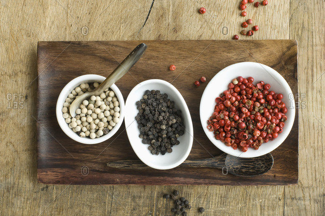 Bowls with various sorts of pepper