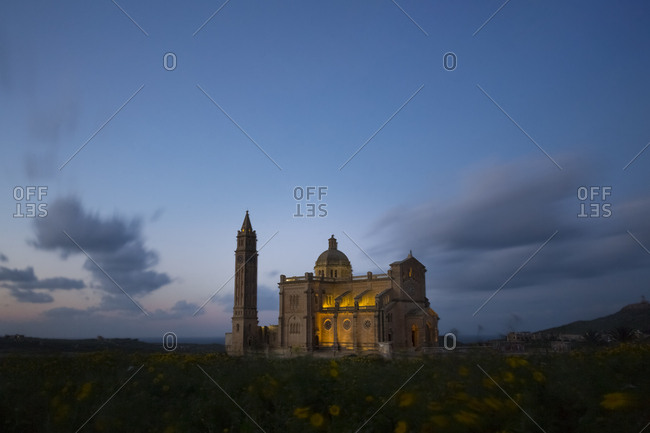 Malta- Gozo- Basilica Ta' Pinu- national shrine- blue hour