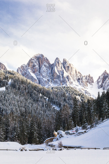 Italy- Trentino Alto-Adige- Val di Funes- Dolomites mountains- Santa Maddalena on a sunny winter day