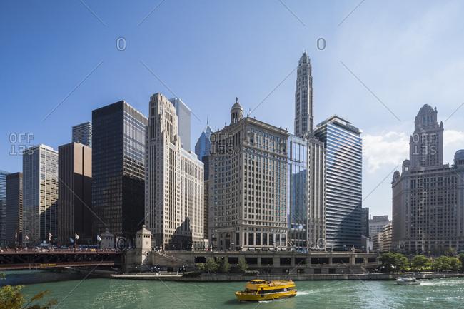 USA- Illinois- Chicago - September 22, 2017: Chicago River- Wyndham Grand Chicago Riverfront