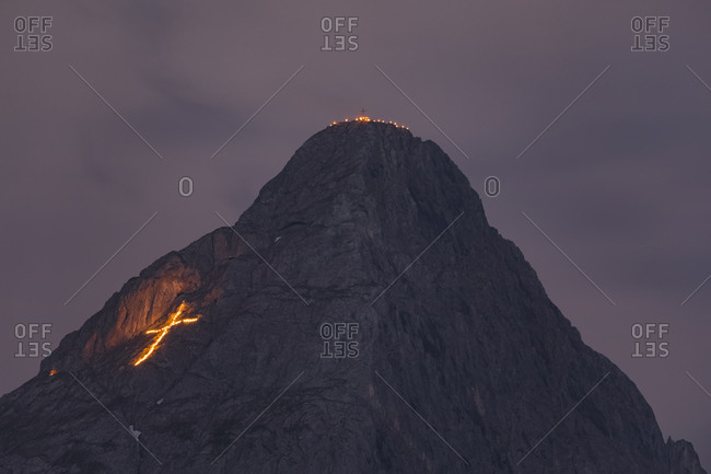 Austria- Lermoos- Ehrwalder Becken- Ehrwalder Sonnenspitze midsummer fire