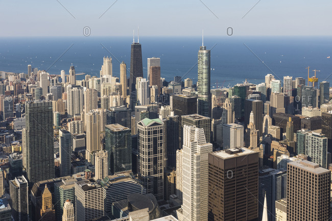 USA- Illinois- Chicago - September 24, 2017: Lake Michigan- Chicago- John Hancock Center- Trump International Hotel and Tower