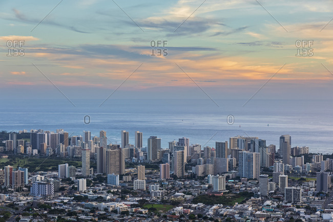 USA- Hawaii - September 24, 2018: Oahu- Pacific Ocean- Skyline of Honolulu- in the evening