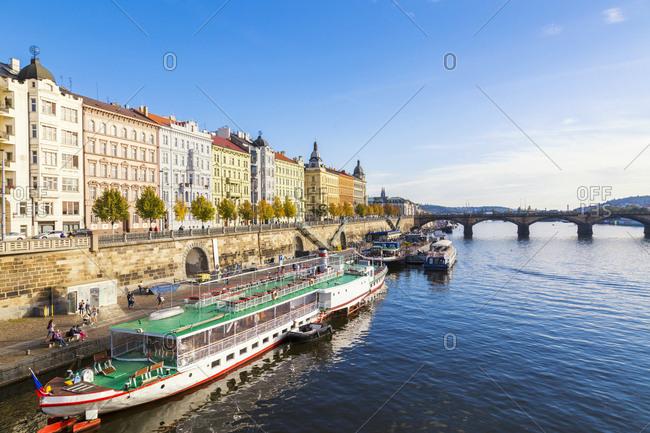Czechia- Prague - October 6, 2018:  Row of houses at riverside