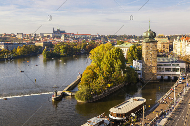 Czechia- Prague - October 6, 2018: Vltava river in autumn