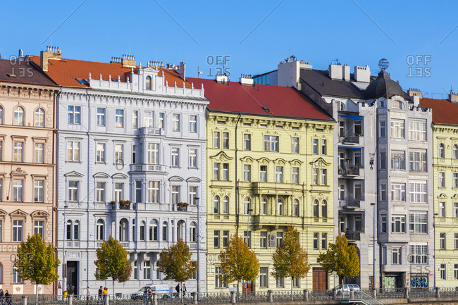 Czechia- Prague - October 6, 2018:  row of houses
