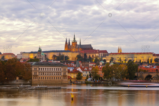 Czechia- Prague- Charles Bridge- Vltava River and Prague Castel in the evening