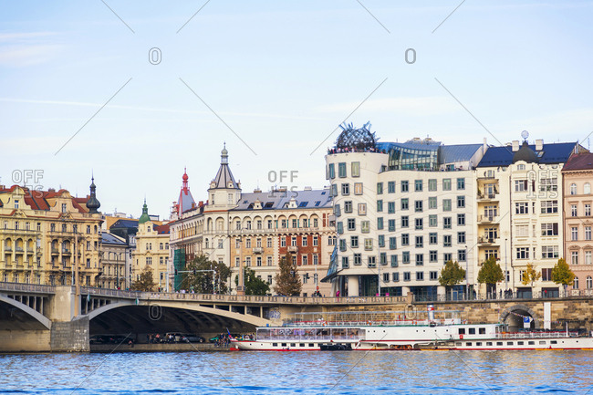 Czechia- Prague - October 6, 2018: Old town- Vltava river and bridge