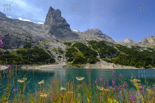 Italy- South Tyrol- Dolomites- Marmolada- Lake Lago di Fedaia