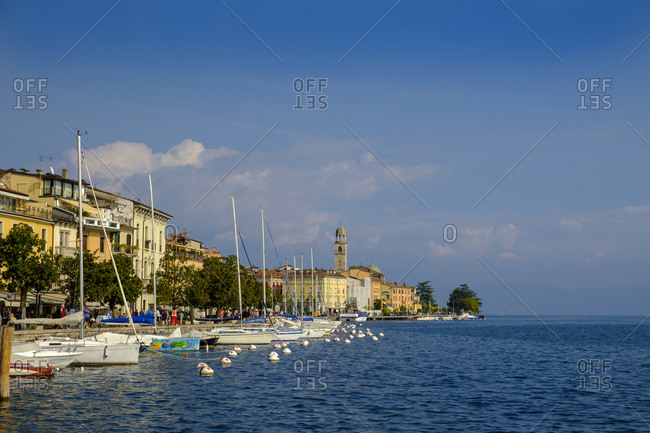 Italy- Lombardy - October 7, 2018: Lake Garda- Salo- waterfront promenade