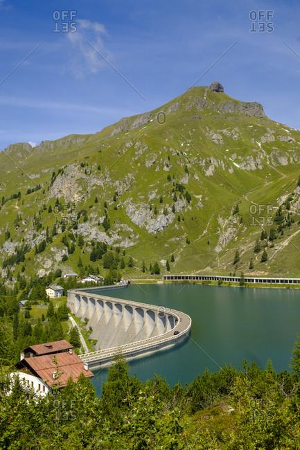 Italy- South Tyrol- Dolomites- Marmolada- Lake Lago di Fedaia- Belvedere mountain- Passo Fedaia