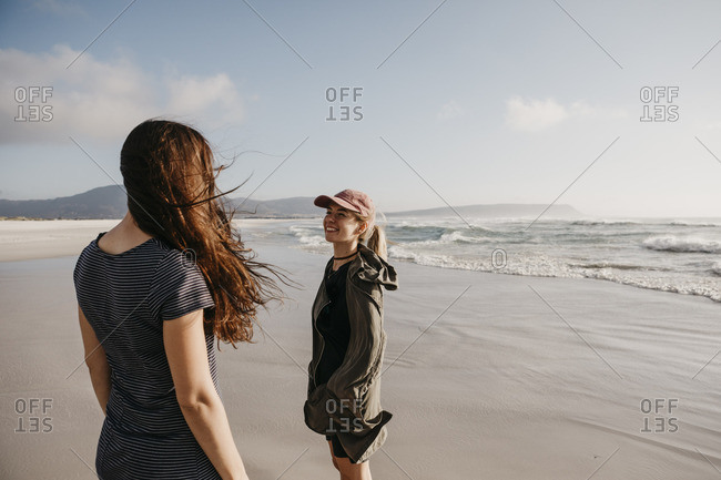 South Africa- Western Cape- Noordhoek Beach- two young women on the beach
