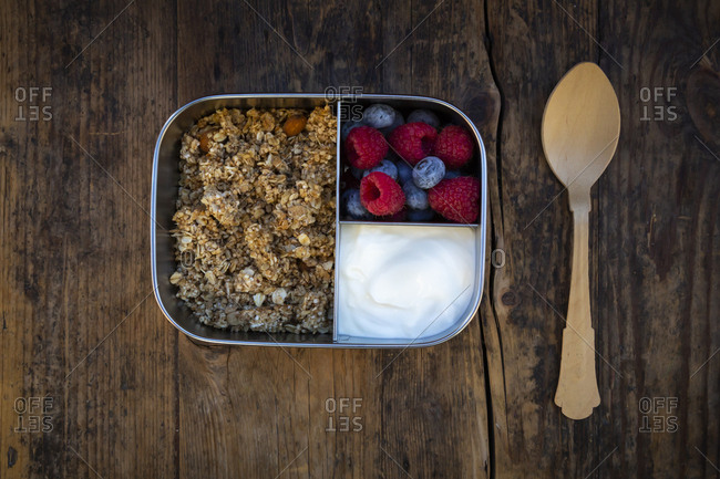 Breakfast box with granola- quinoa nuts- greek yogurt- blueberries and raspberries