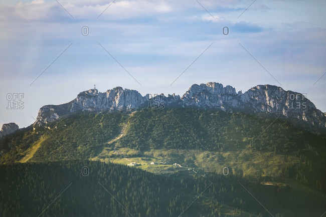 Germany- Bavaria- Chiemgau Alps- Aerial view of Kampenwand