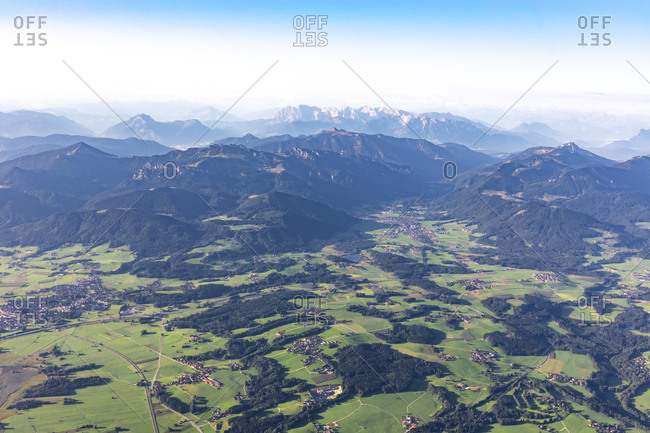 Germany- Bavaria- Chiemgau- Aerial view of Alps