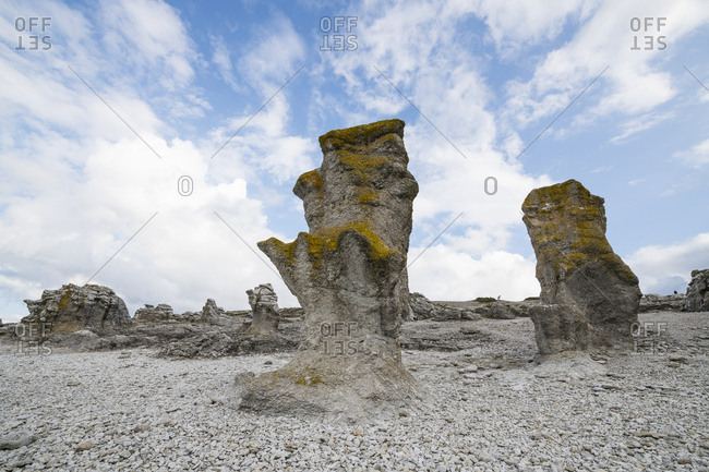 Sweden- Gotland County- Faroe- Langhammars sea stacks