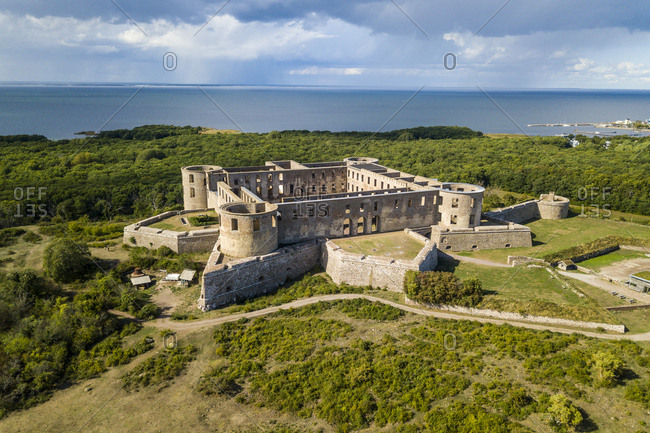 Sweden- Oeland- Aerial view of Borgholm castle