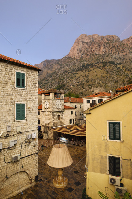 Montenegro - September 15, 2018: Kotor- old town- main square with clock tower