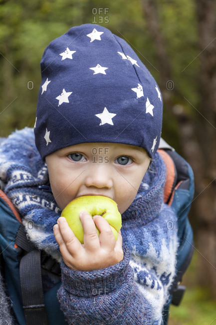 Portrait of baby boy in baby carrier eating an apple
