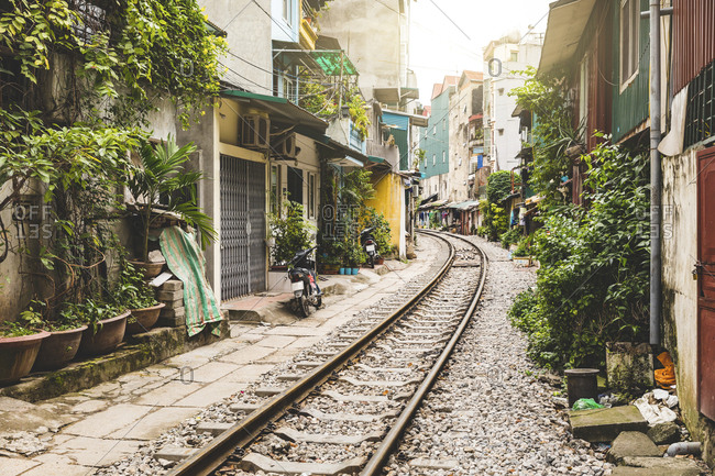 Vietnam- Hanoi - November 19, 2017: view of railway tracks in the city very close to houses