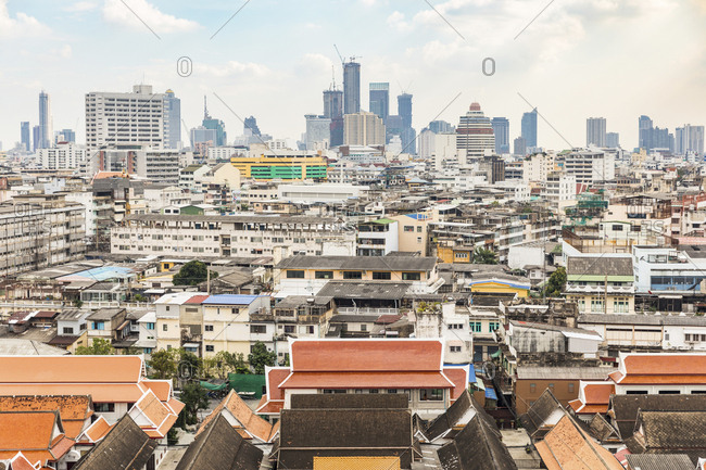 Thailand- Bangkok- aerial view of the city with different areas