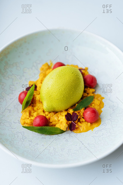 Gourmet sorbet dish