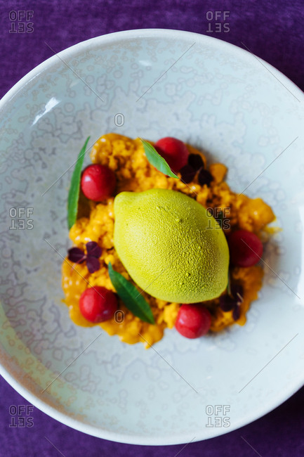 Overhead view of a gourmet sorbet dish