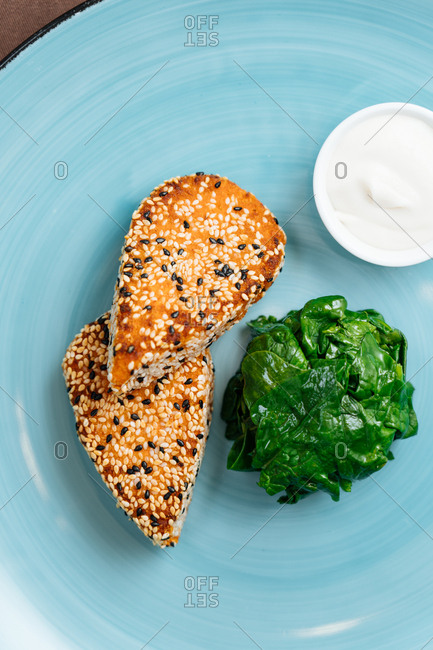 Sesame crusted fish and spinach