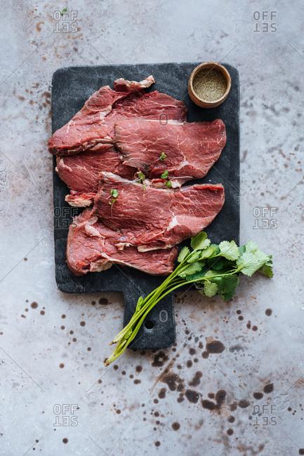 Meat on a slate board