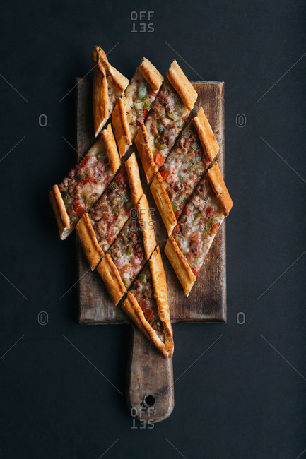Overhead view of a traditional Turkish pide