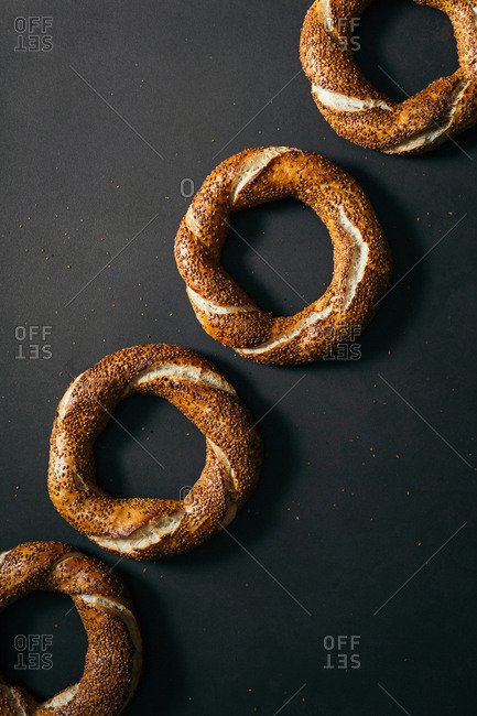 Overhead view of Turkish traditional simit