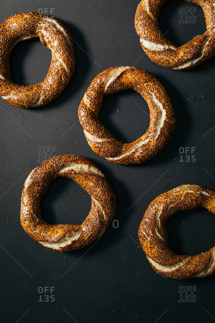 Top view of Turkish traditional simit