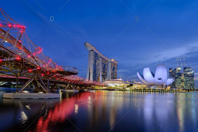 Singapore - March 11, 2019: Marina Bay at dusk