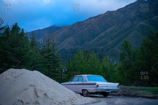 Big Sur, California - January 21, 2019: Car parked near the mountains