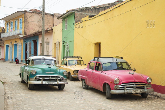 Trinidad, Cuba - May 26, 2017: Cars on the street in Trinidad, Cuba