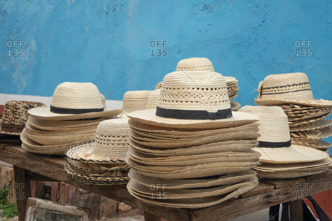 Straw hats for sale at a market in Trinidad, Cuba