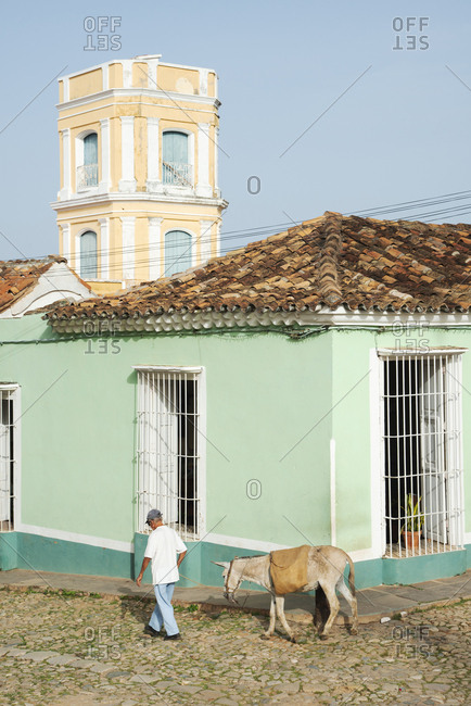 Man walking with a donkey on the streets of Trinidad, Cuba