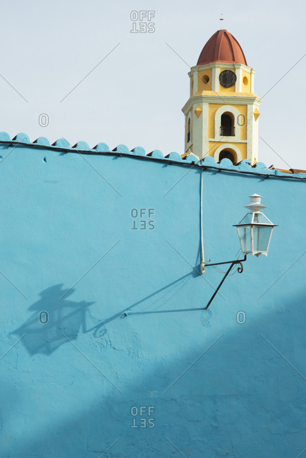 Light on a blue building in Trinidad, Cuba