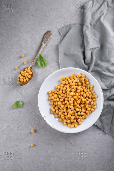 Large bowl of chickpeas from above