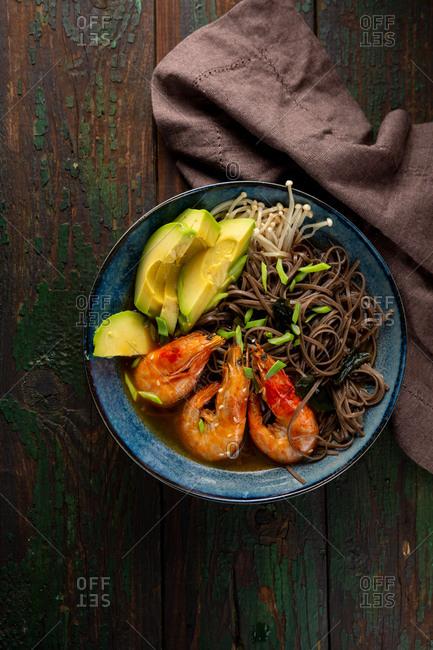 Delicious rice noodles with shrimp